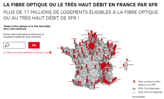 carte couverture fibre sfr Carte fibre SFR : le point sur la couverture en Mars 2019